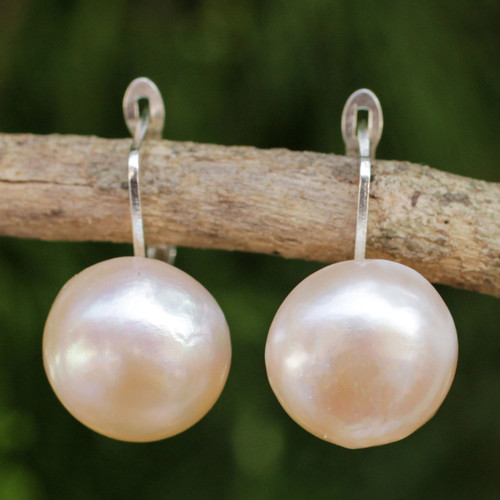 Peach-Hued Cultured Pearl and 925 Silver Drop Earrings 'Rosy Moon'