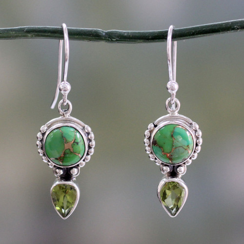 Peridot and Sterling Silver Dangle Earrings from India 'Spring Green'