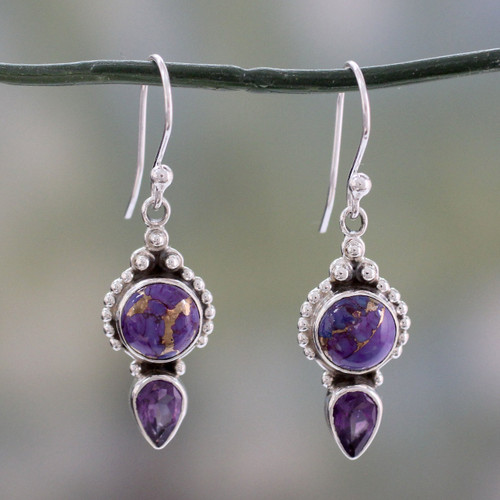 Artisan Crafted Amethyst and Silver 925 Earrings from India 'Vision in Purple'