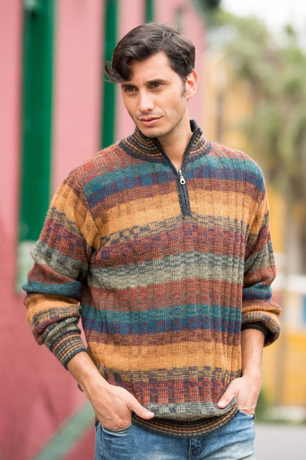 Peruvian 100% Alpaca Men's Zip-Turtleneck Hand Knit Sweater 'Voyager'