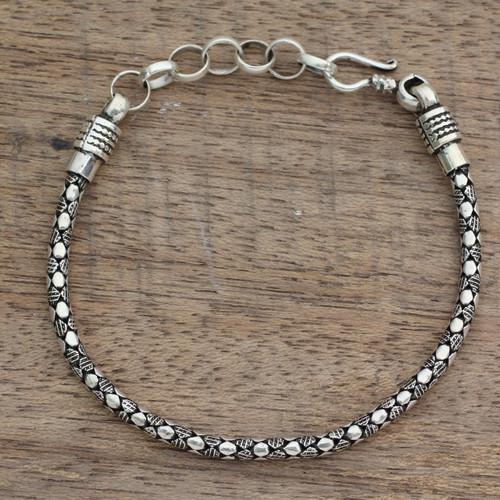 India Fair Trade Men's Sterling Silver Bracelet 'Serpent Shadow'