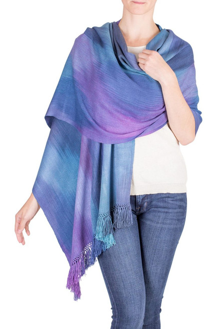 Guatemalan Hand Woven Shawl in Blues and Orchids 'Blue Orchids'