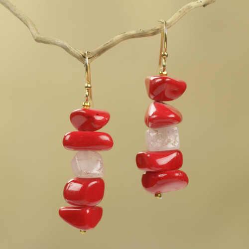 Red Agate Handcrafted African Dangle Earrings 'Red Velvet'