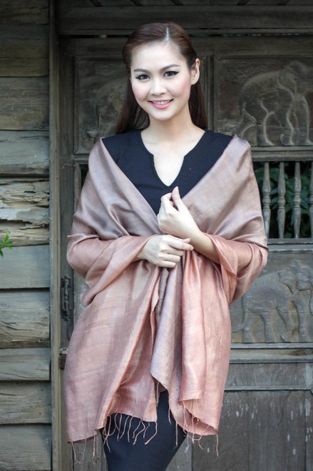 Brown Woven 100% Silk Shawl from Thailand 'Shimmering Cinnamon'