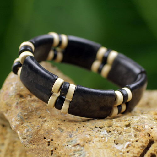 Black and Cream Eco Friendly Recycled Bead and Wood Bracelet 'Midnight Connection'