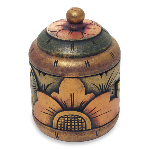 Floral Box Hand Carved in Bali from Mahogany Wood 'Garden Treasure'