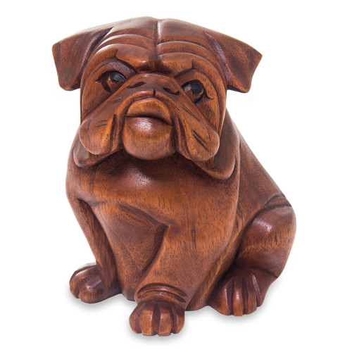 Hand Carved Wood Bulldog Puppy Sculpture from Bali 'Curious Bulldog'