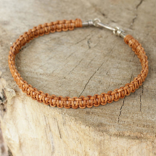 Braided Brown Leather Bracelet for Men Fair Trade Jewelry 'Brown Magnificence'