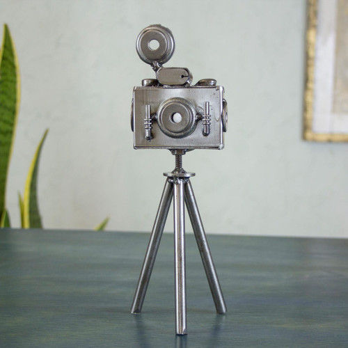 Mexico Eco Friendly Recycled Metal Camera Sculpture 'Rustic Camera'