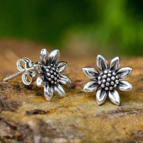 Small Sterling Silver Sun Flower Post Earrings from Thailand 'Sunflower Love'