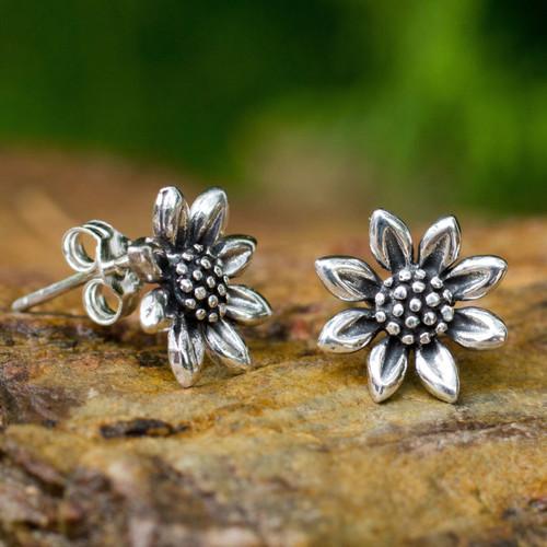 Small Sterling Silver Sun Flower Post Earrings from Thailand 'Sunflower Love'