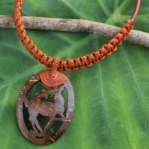Artisan Jewelry Coconut Shell and Leather Necklace 'Happy Deer in Brown'