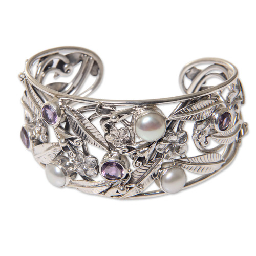 Floral 925 Silver Cuff Bracelet with Amethysts and Pearls 'Temple Garden'