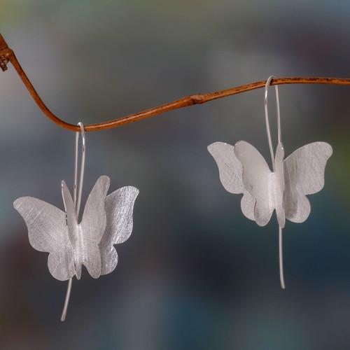 Brushed Sterling Silver Butterfly Drop Style Earrings 'Silver Butterfly'