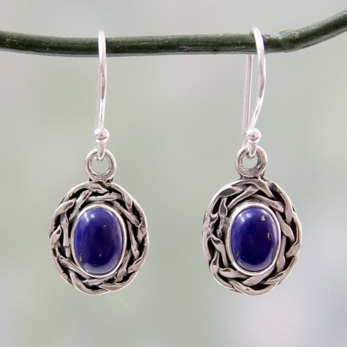 Dangle Earrings Featuring Lapis Lazuli and 925 Silver 'Indian Basket'