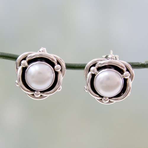 Cultured White Pearl and Sterling Silver Button Earrings 'Regal Aura'
