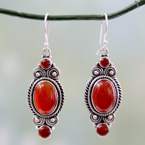 Red Onyx and Sterling Silver Dangle Earrings from India 'Johari Sunset'