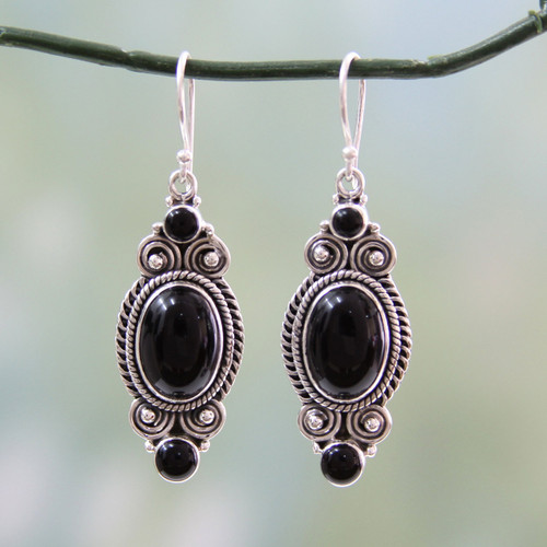 Hand Made Black Onyx and Silver 925 Hook Style Earrings 'Johari Night'