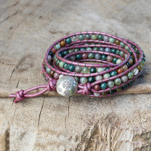 Wrap Bracelet with Colorful Jasper and Hill Tribe Silver 'Orchid Romance'