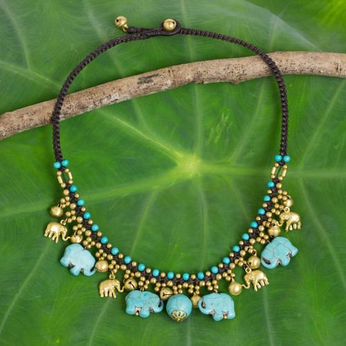 Hand Crafted Necklace with Brass and Blue Calcite Elephants 'Blue Elephant Charm'