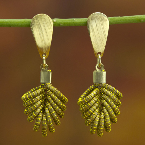 Brazilian Golden Grass Dangle Earrings with 18k Gold 'Amazon Leaf'