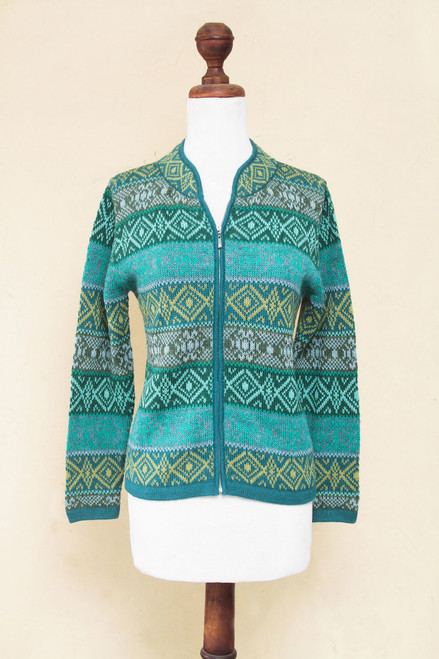 Women's Alpaca Zipper Cardigan in Grey and Greens 'Andean Countryside'