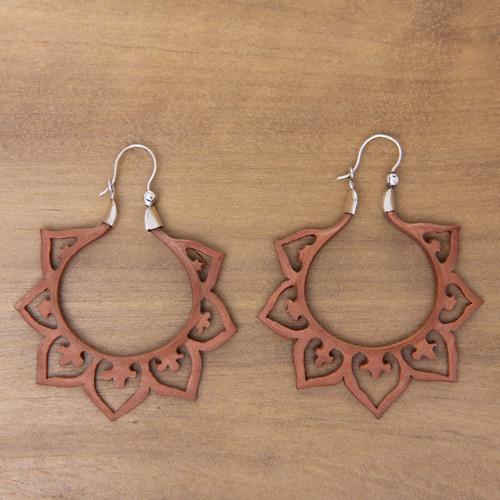 Balinese Wood and Sterling Silver Handmade Hoop Earrings 'Fiery Lotus'