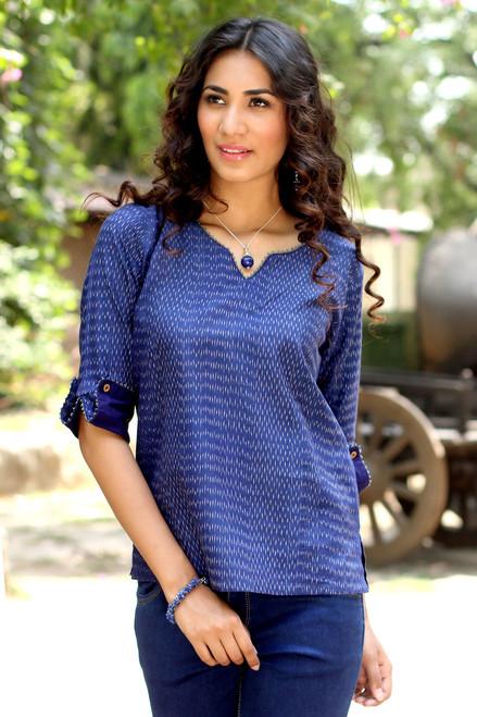 Hand Crafted All Cotton Indigo Blue Ikat Tunic for Women 'Indigo Raindrop'