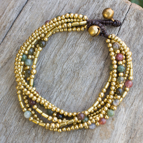 Brass Beaded Bracelet Crafted by Hand with Agate 'Earth Freedom'