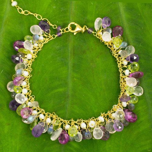 Gold Plated Multi Gem Bracelet with Pearls from Thailand 'Fantastic Orchid Forest'