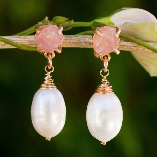 Rose Quartz and Pearl on Rose Gold Plated Earrings 'Romantic Rose'