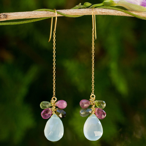 Chalcedony and Tourmaline Gold Plated Earrings from Thailand 'Siam Glam'