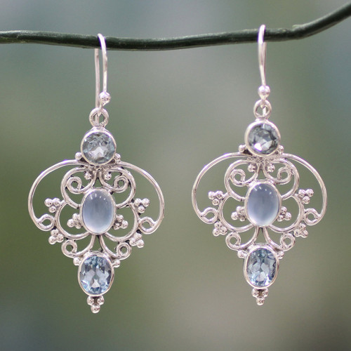 Artisan Crafted Blue Topaz Dangle Earrings with Chalcedony 'Blue Arabesque'
