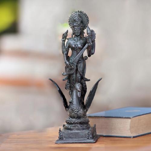 Antiqued Bronze Sculpture of Hindu Goddess of Knowledge 'Saraswati'