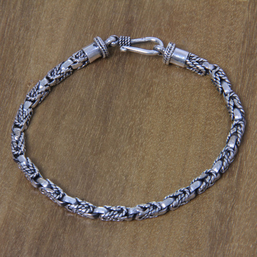 Balinese Hand Crafted Sterling Silver Braided Bracelet 'Sinnet'