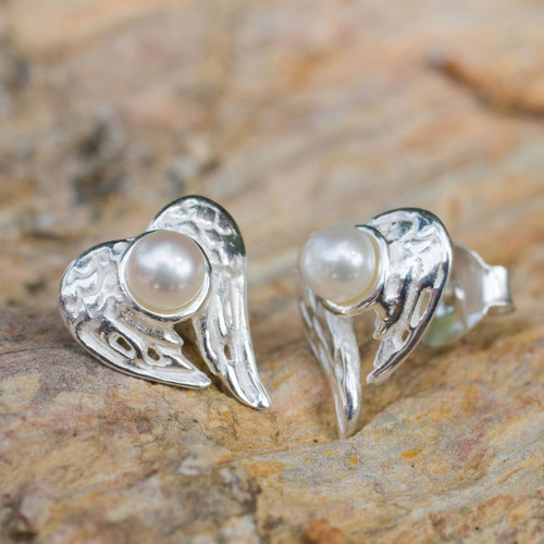 Winged Heart Sterling Silver and Pearl Button Earrings 'Angelic Love'