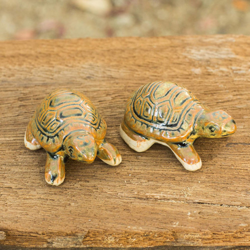 Thai Ceramic Turtle Figurines in Brown-Green (Pair) 'Resilient Turtles'