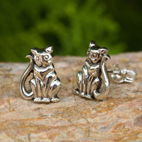 Cat Theme Hand Crafted Sterling Silver Button Earrings 'Contented Kittens'