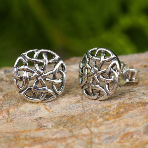 Fair Trade Thai Sterling Silver Button Earrings 'Intertwined'