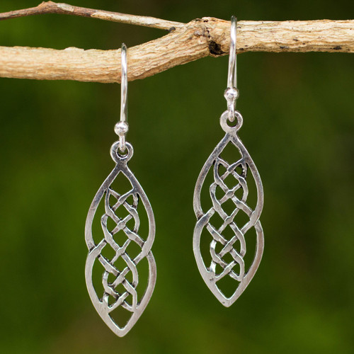 Hand Crafted Thai Celtic Theme Sterling Silver Earrings 'Celtic Braid'