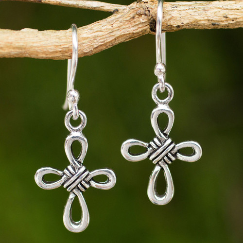 Hand Crafted Thai Sterling Silver Cross Dangle Earrings 'Knotted Cross'