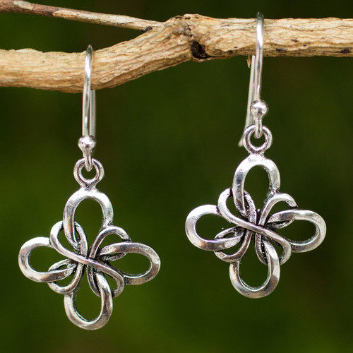 Hand Crafted Thai Sterling Silver Dangle Hook Earrings 'Endless Ribbon'