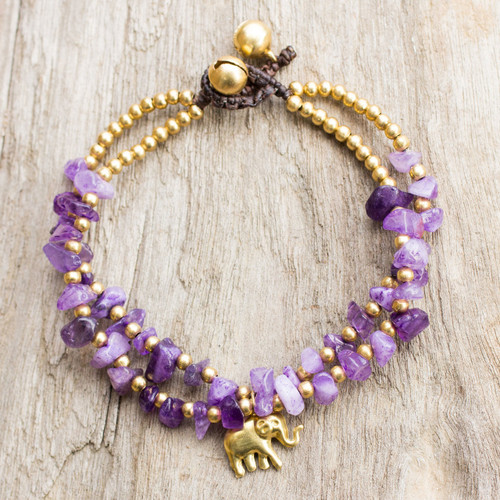 Thai Purple Quartz Beaded Elephant Charm Bracelet 'Violet Elephant'