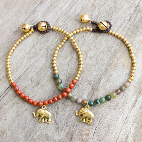 Jasper and Elephant Charm on Pair of Brass Beaded Bracelets 'Stylish Elephants'