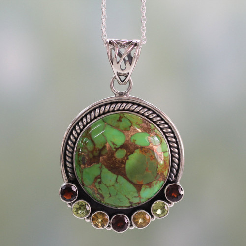 Indian Silver Necklace with Green Composite Turquoise 'Valley of Flowers'