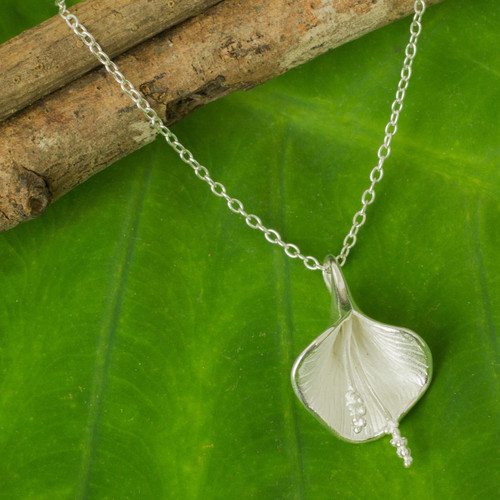 Fair Trade Thai Jewelry Sterling Silver Lily Necklace 'Enchanted Lily'