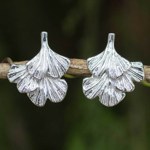Sterling Silver Leaf Shaped Button Earrings from Thailand 'Ginkgo Inspired'