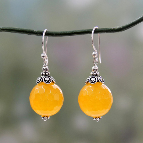 Fair Trade Yellow Chalcedony and Sterling Silver Earrings 'Glorious Yellow'