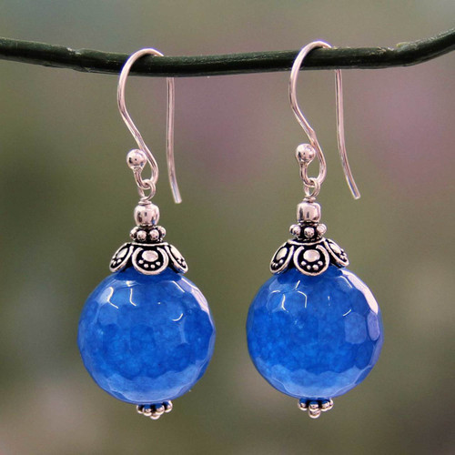 India Handmade Sterling Silver Dark Blue Chalcedony Earrings 'Ocean Magic'
