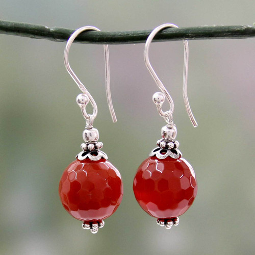 Artisan Crafted Red Agate and Sterling Silver Hook Earrings 'Glorious Crimson'